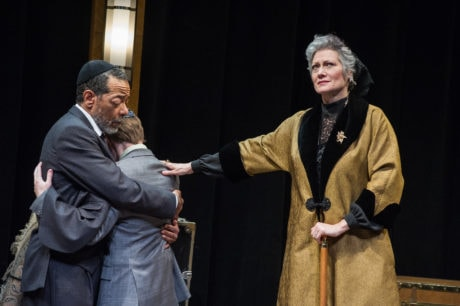 Frank X, Christopher Warren and Valerie Leonard in Theater J's production of 'The Jewish Queen Lear,' playing at Georgetown University's Davis Performing Arts Center through April 7. Photo by C. Stanley Photography.