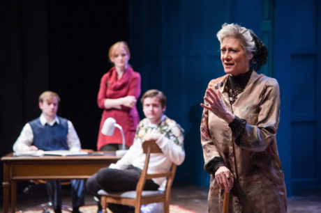 Mirele Efros (Valerie Leonard) and her sons and daughter-in-law (L-R: Christopher Warren, Healy Knight, Charlie Trepany) in Theater J's production of THE JEWISH QUEEN LEAR, playing at Georgetown University's Davis Performing Arts Center through April 7. Photo by C. Stanley Photography.
