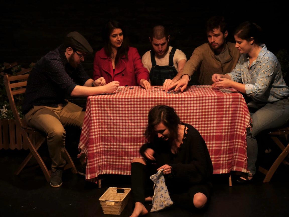 Colton Needles (Dorn), Olivia Haller (Arkadina), Adrian Iglesias (Shamrayev), Thomas Shuman (Trigorin), Elizabeth Floyd (Polina) and Madeline Mooney (Masha) in 'The Seagull.' Photo by Ted Johnson.