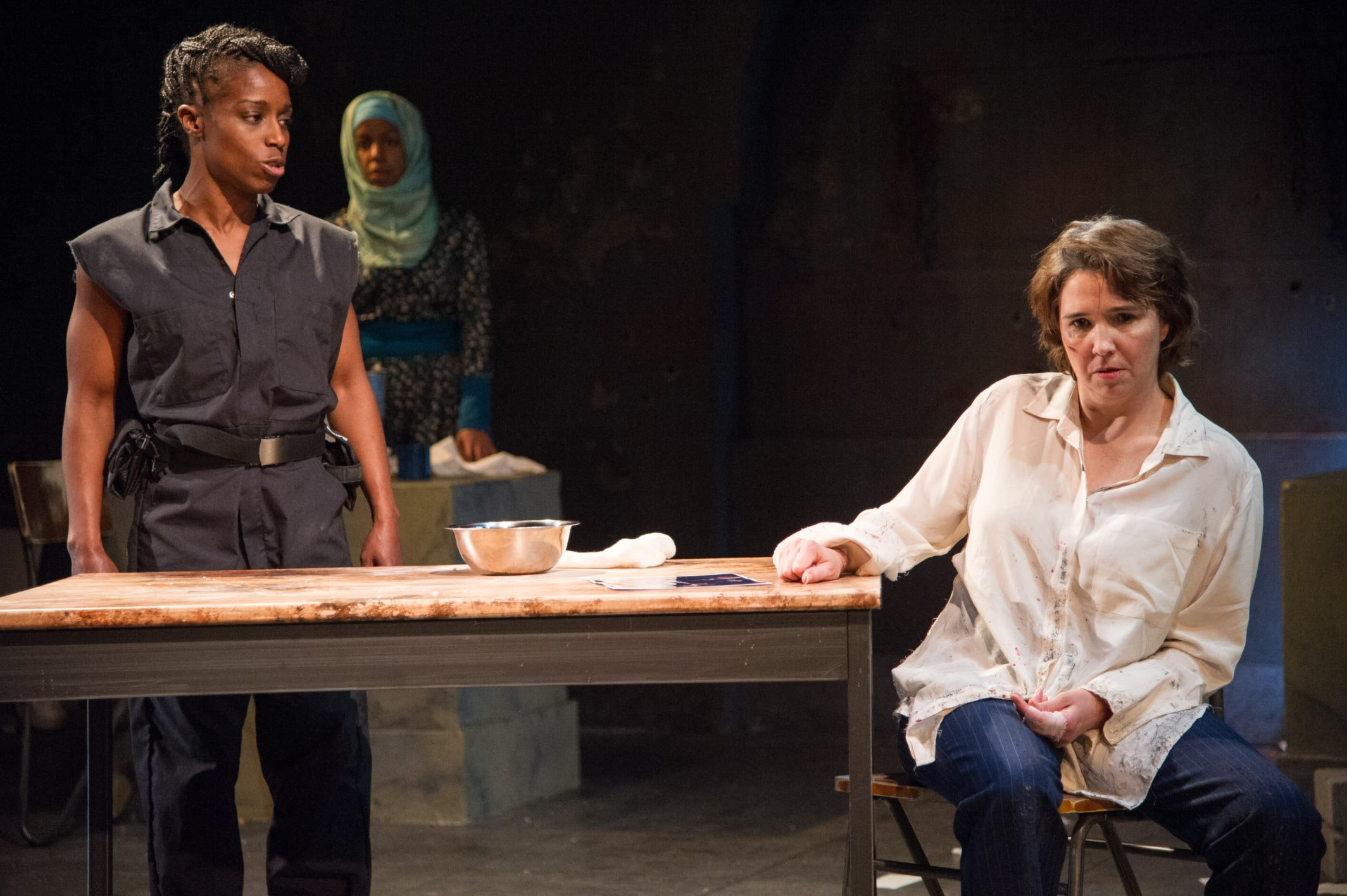 Felicia Curry, Yesenia Iglesias, and Holly Twyford in 'Masterpieces of the Oral and Intangible Heritage of Humanity' at Signature Theatre. Photo by C. Stanley Photography.