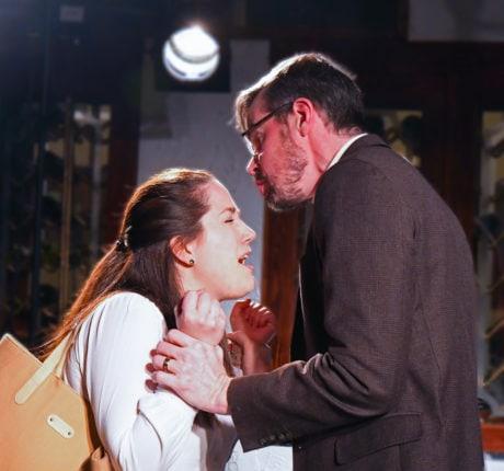 Amanda Ranowsky as Carol and Christopher Crockett as John in 'Oleanna.' Photo by Chip Gertzog, Providence Players of Fairfax.