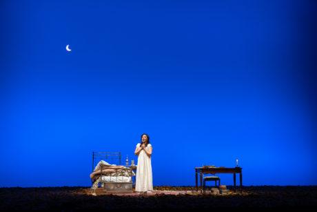 Tatiana (Anna Nechaeva) sings of love in WNO's production of Eugene Onegin. Photo by Scott Suchman.