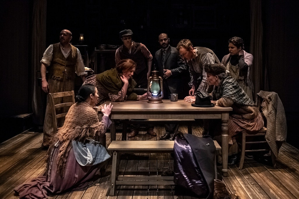 The ensemble of 'Oil' by Ella Hickson at Olney Theatre Center. Photo by Teresa Castracane Photography.