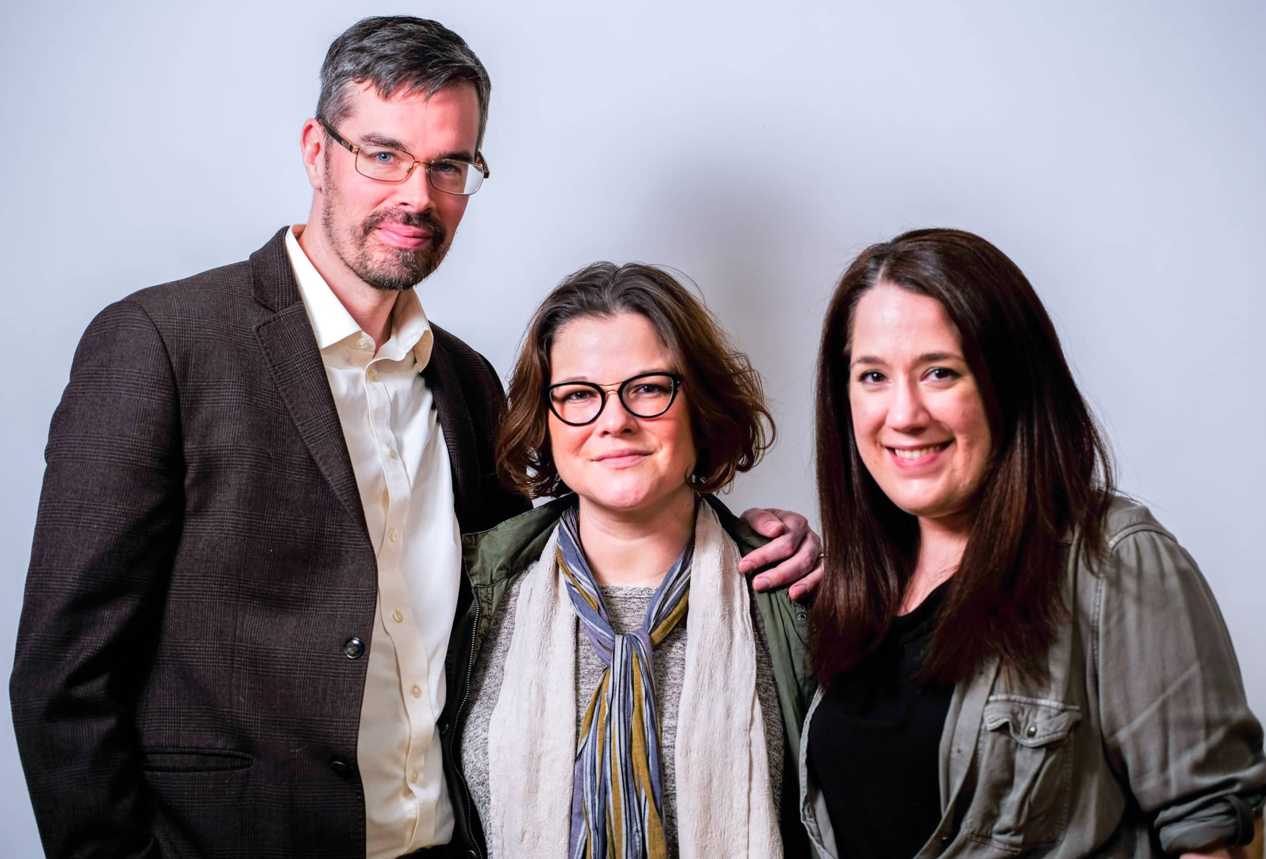 L-R: Christopher Crockett as John, Director Julie Janson, and Amanda Ranowsky as Carol in the Providence Players' production of 'Oleanna.' Photo by Rob Cuevas.