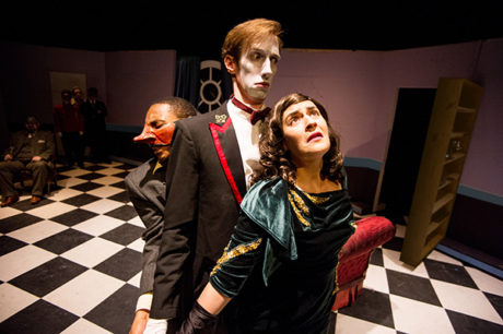L-R: Darius Johnson, Colin Connor, and Francesca Chilcote in 'The Great Commedia Hotel Murder Mystery.' Photo by C. Stanley Photography.