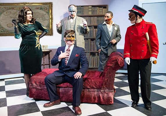 L-R: Francesca Chilcote, Graham Pilato, Darius Johnson, Kathryn Zoerb, and Ben Lauer (seated) in 'The Great Commedia Hotel Murder Mystery.' Photo by C. Stanley Photography.