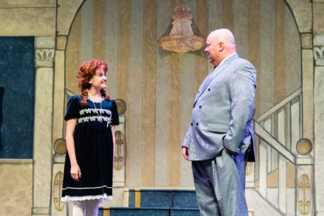 Kylee Hope Geraci (Annie) with Doug Marcks (Oliver Warbucks) in Reston Community Players' 'Annie.' Photo by Jennifer Heffner Photography.