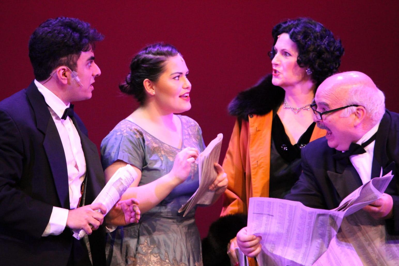 Carrie Kirby (Georgia Hendricks), Shakil Azizi (Aaron Fox), Judy Lewis (Carmen Bernstein) and Bob McGrath (Oscar Shapiro). Photo courtesy of TAP.