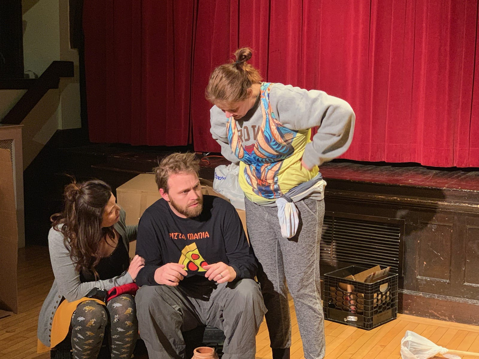 Jessie Burns (Rose), Andrew Farms (Cliff), and Sarah Akers (Emily) in 'The Value of Moscow.' Photo credit: Arianne' Warner.