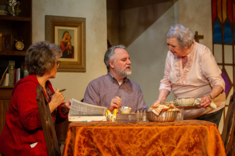 Mary Jo Morgan as Mary, Michael Fisher as Father Murphy and Patricia Spencer Smith as Margaret in 'The Savannah Disputation' at the Little Theatre of Alexandria. Photo by Kyle Reardon.