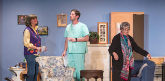 L-R: Marilyn (Susan Garvey), Scotty (Matthew Patterson) and Abby (Adriana Hardy) in Vienna Theatre Company's production of 'Ripcord.' Photo by John Sharrard.