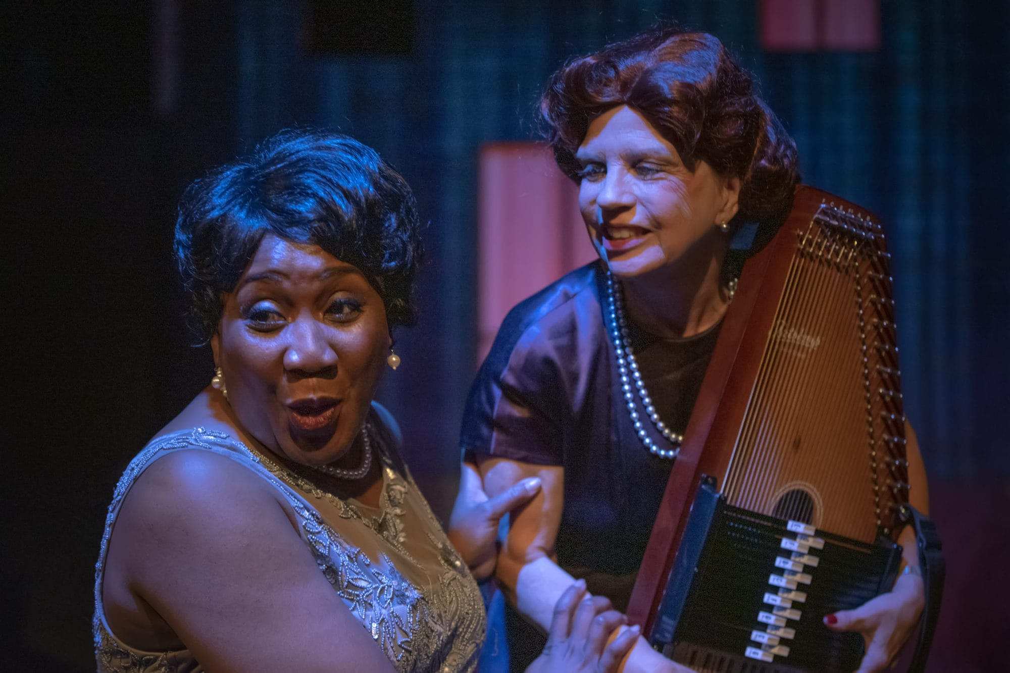 Roz White as Alberta 'Pearl' Johnson and Susan Galbraith as Susannah Mullaly in 'Black Pearl Sings!' at the Alliance for New Music-Theatre. Photo by Thom Goertel.