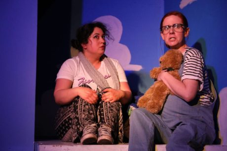 Jess Rivera as Henri and Katharine Vary as Cecil in 'And Baby Makes Seven' at The Strand. Photo by Shealyn Jae Photography.