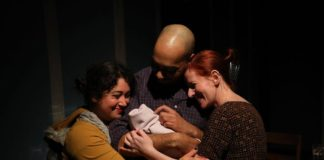Jess Rivera as Ruth, Grant Emerson Harvey as Peter, and Katharine Vary as Anna in 'And Baby Makes Seven' at The Strand. Photo by Shealyn Jae Photography.