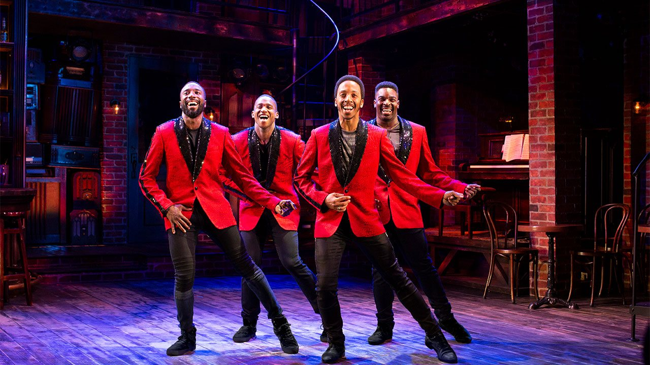 John Edwards, Jelani Remy, Dwayne Cooper, and Kyle Taylor Parker in Smokey Joe's Cafe. Photo by Julia Russell.