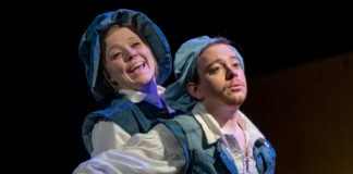 Logan Davidson and Matt Wetzel in 'Rosencrantz and Guildenstern Are Dead' at Fells Point Corner Theatre. Photo by Trent Haines-Hopper/THSquared Photography.