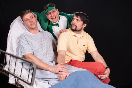 Ron Giddings as Gordon, Tom Newbrough as Mr. Bungee, and Shane Conrad as Roger in 'A New Brain.' Photo courtesy of the Colonial Players of Annapolis.