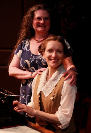 Director Laura Giannarelli with Carol Spring, who plays Myra in Quotidian Theatre's 'Ghost-Writer.' Photo by Steve LaRocque.