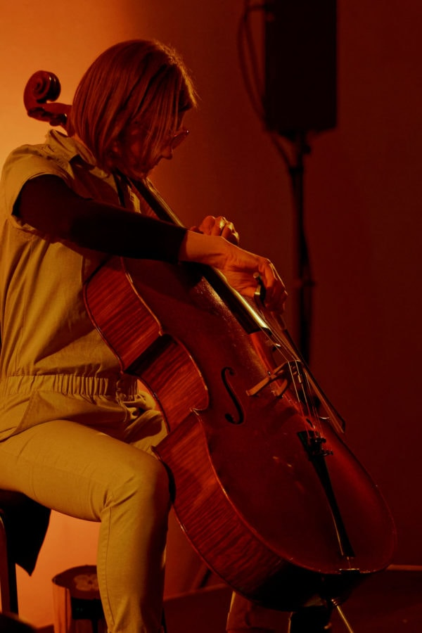 Cellist Amanda Gookin performing in the Dupont Underground as part of the Kennedy Center Direct Current Festival on March 29. Photo by Anu Dev.