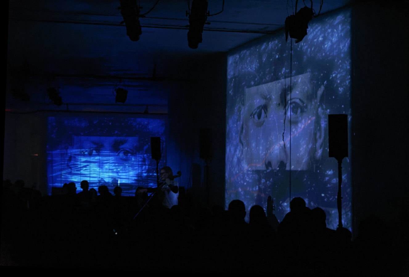 Amanda Gookin's Forward Music Project at the Direct Current Festival on March 29. Photo by Anu Dev. Projections by S. Katy Tucker.