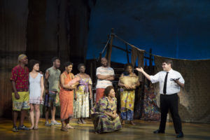 Conner Peirson and cast of 'The Book of Mormon' at the Hippodrome Theatre. Photo by Julieta Cervantes.