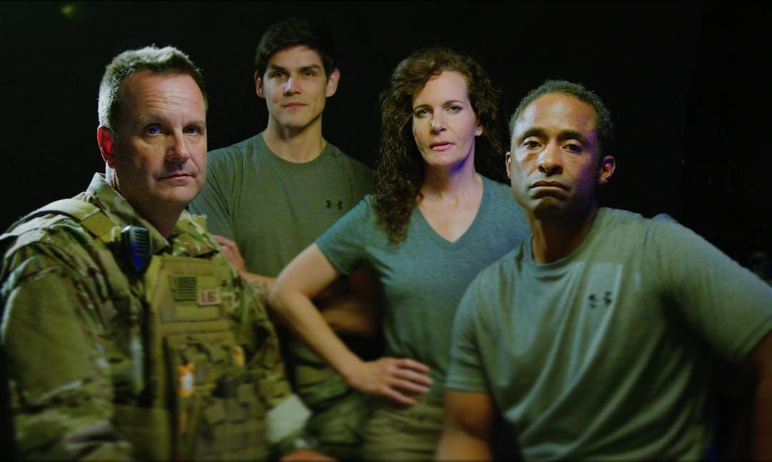 The cast of 'Last Out': Scott Mann, Bryan Bachman, Ame Livingston, and Len Bruce. Photo courtesy of 'Last Out.'