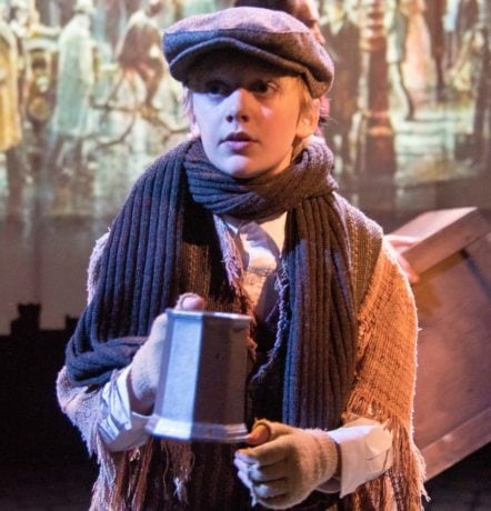 Joey D'Angelo as Oliver in Annapolis Shakespeare Company's production of 'Oliver!' Photo by Joshua McKerrow.