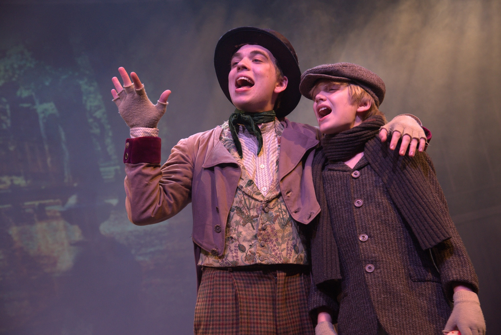 Henry Niepoetter as the Artful Dodger and Joey D'Angelo as Oliver in Annapolis Shakespeare Company's production of 'Oliver!' Photo by Joshua McKerrow.