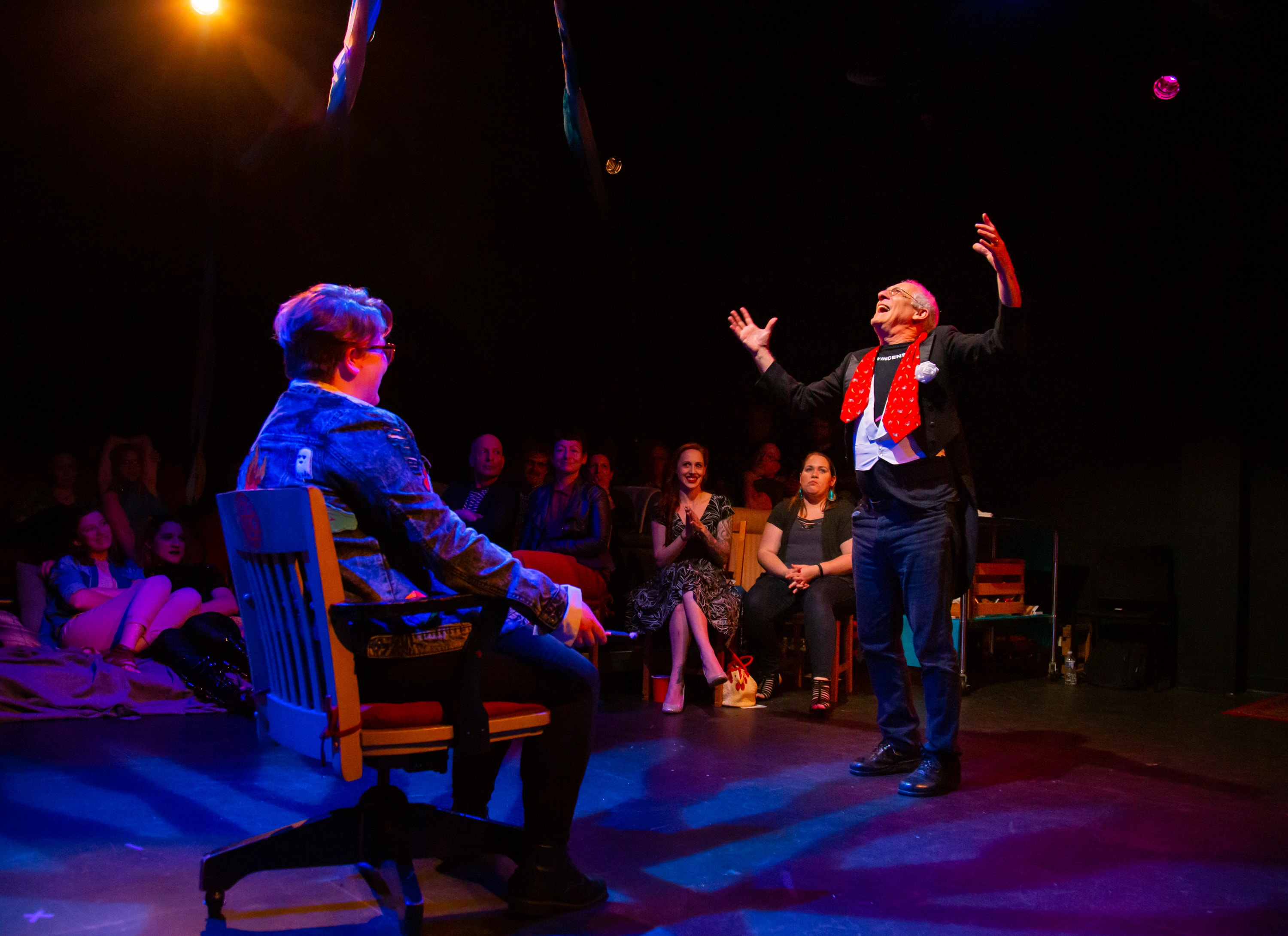 David S Kessler, performing Justice, in 'The Tarot Reading (V).' Photo by Ryan Maxwell Photography.