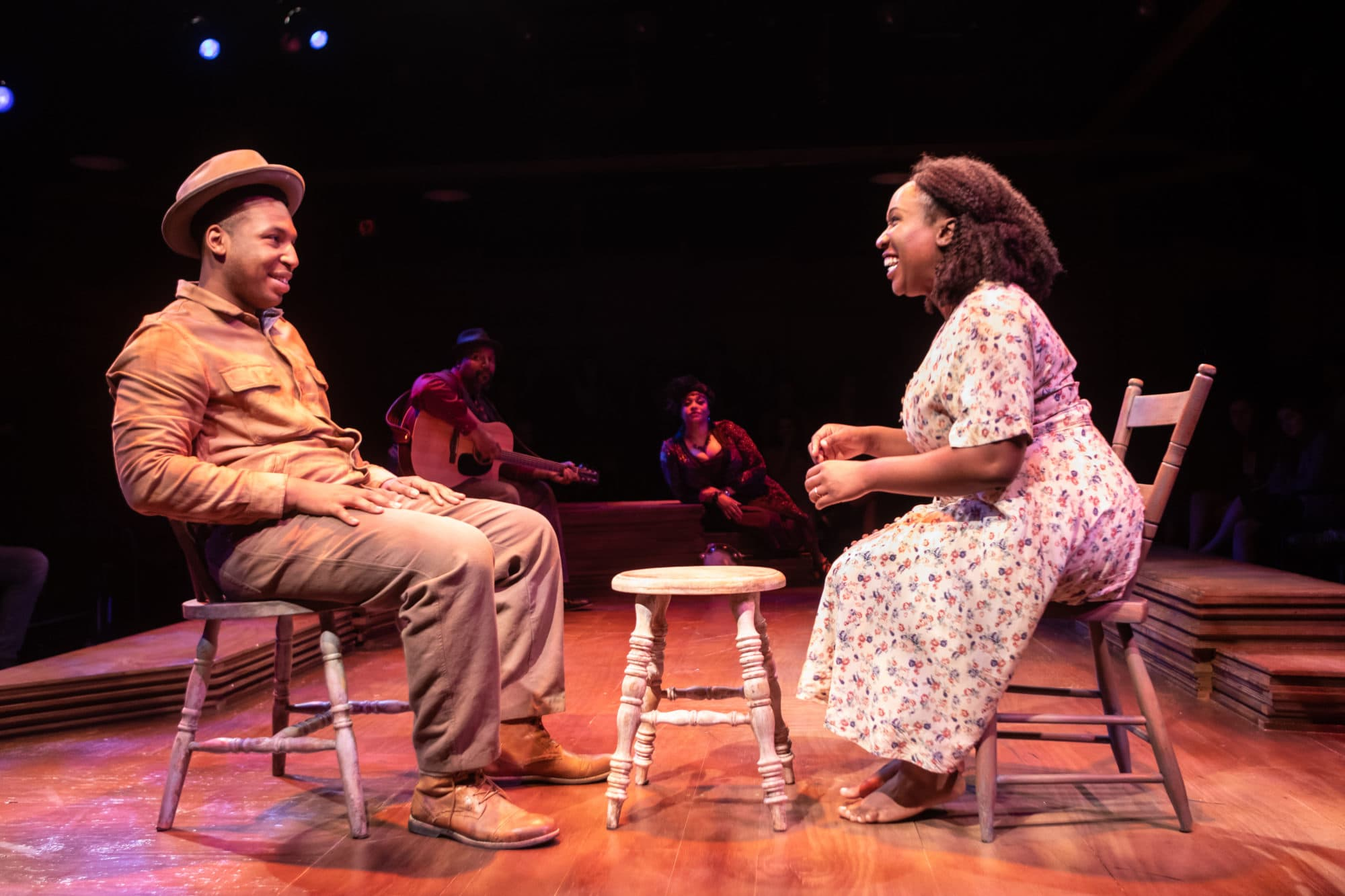 L-R: Drew Drake (Folk Man 3), Jonathan Mosley-Perry (Guitar Man), Iyona Blake (Blues Speak Woman) and Ines Nassara (Folk Woman) in 'Spunk' at Signature Theatre. Photo by Christopher Mueller.
