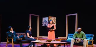 Vishwas (Alan Raleigh), Susan Marie Rhea (Annette Raleigh), Lolita Marie (Veronica Novak) and DeJeanette Horne (Michael Novak) in Keegan Theatre's production of 'God of Carnage.' Photo by Cameron Whitman.