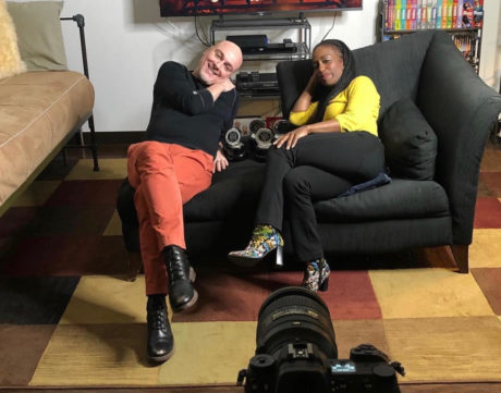 Rick Hammerly and Felicia Curry staying cool in front of the camera. Photo by Nicole Hertvik.
