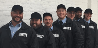 The cast of Workhouse Arts Center's production of 'The Full Monty.' L-R: Sean Garcia (alternating Jerry), Tobin Moss (Dave), Michael Omohundro (alternating Jerry), Matt Calvert (Ethan), Aaron Talley (Harold), Anthony Williams (Noah 'Horse'), Dylan Toms (Malcolm). Photo courtesy of Workhouse Arts Center.