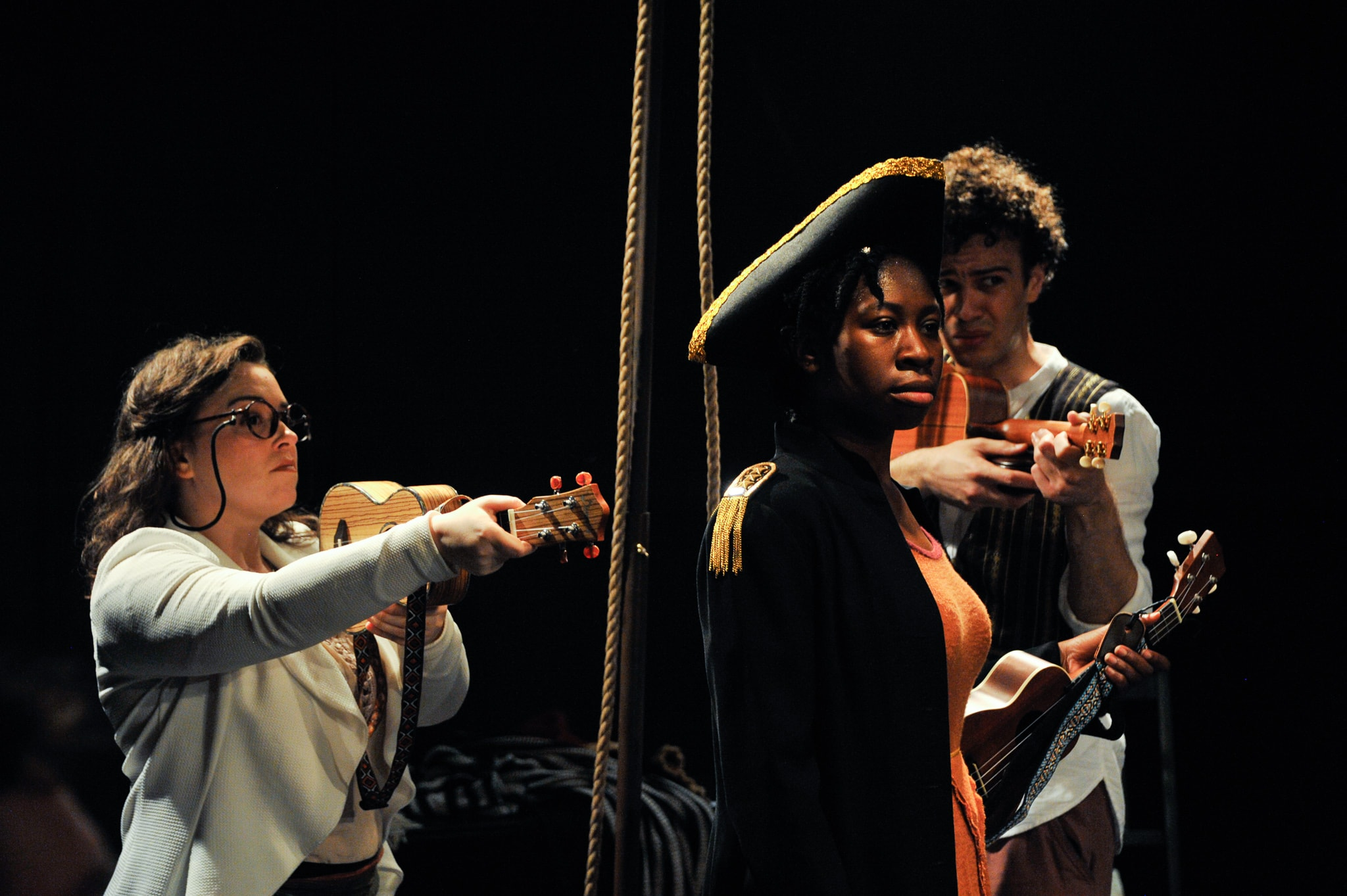 L-R: Paige O'Malley, Tosin Olufolabi, and Alex Turner in We Happy Few's production of 'Treasure Island.' Photo by Patrick Landes.