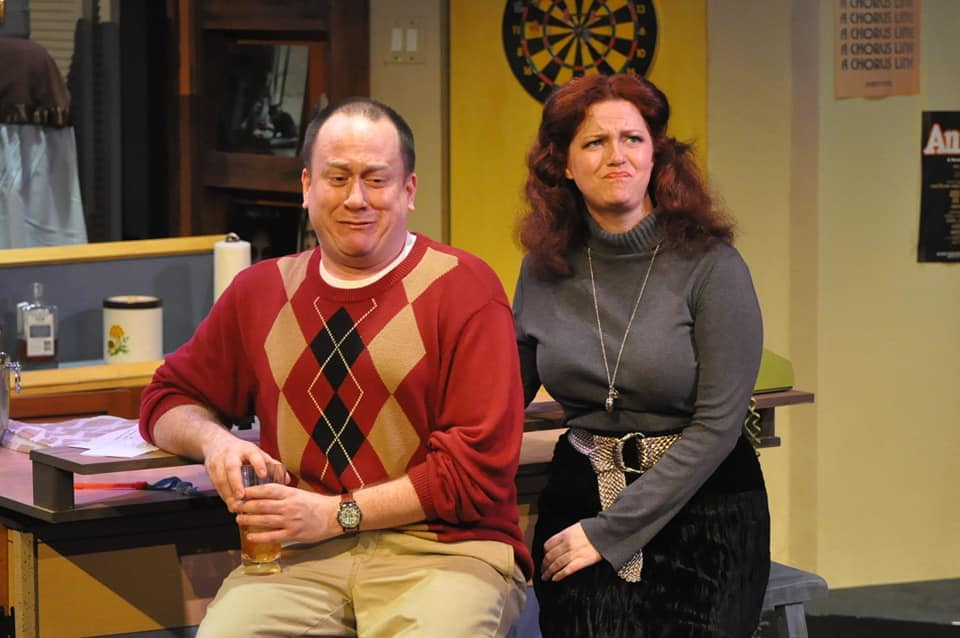 Adam Downs as Jimmy Zoole and Lori Brooks as Kate Hough in Dominion Stage's production of 'P.S. Your Cat is Dead!' Photo by Matthew Randall.