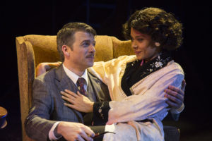 Robbie Gay and Kathryn Tkel in The 39 Steps at Rep Stage Co. Photo by Katie Simmons-Barth.