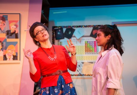 Robin Covington (Mrs. Gomez) and Vanessa Chapoy (Annie) in Rorschach Theatre's production of 'Annie Jump and the Library of Heaven.' Photo by Ryan Maxwell Photography.