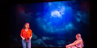 Vanessa Chapoy (Annie) and Emily Whitworth (Althea) in Rorschach Theatre's production of 'Annie Jump and the Library of Heaven.' Photo by Ryan Maxwell Photography.