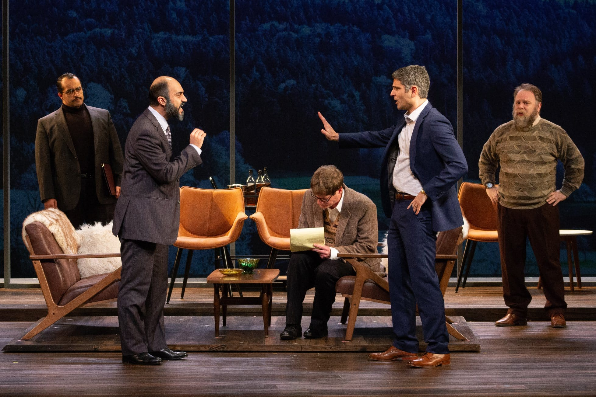 Ahmad Kamal (Hassan Asfour), Maboud Ebrahimzadeh (Ahmed Quire), Gregory Wooddell (Ron Pundak), Juri Henley-Cohn (Uri Savir), and Sasha Olinick (Yair Hirschfeld) in Round House Theatre's current production of 'Oslo.' Photo by Lilly King.