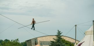 David Dimitri performs on the high wire in 'L'homme Cirque: The One-Man Circus,' now at Strathmore. Photo by Andrew Propp.