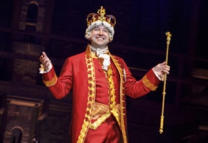 Peter Matthew Smith as King George in Hamilton. Photo by Joan Marcus.