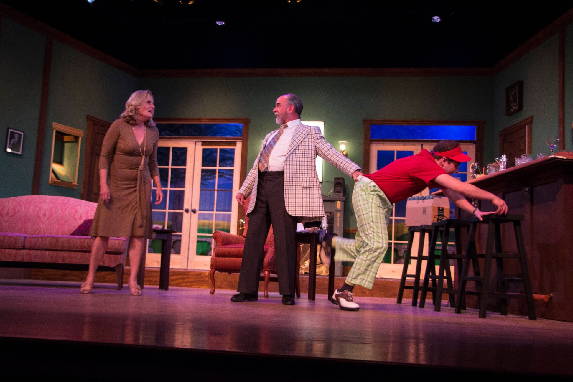 Patricia Nicklin as Pamela Peabody, Ken Kemp as Henry Bingham and Cameron McBride as Justin Hicks in 'A Fox on the Fairway' at Little Theatre of Alexandria. Photo by Matt Liptak.