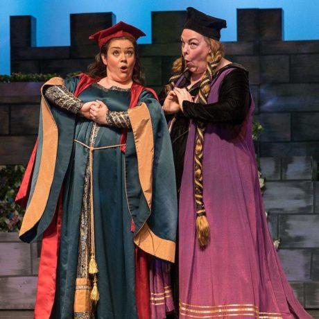 Amanda Jones (Melissa) and Jenellen Fischer (Lady Blanche) in The Victorian Lyric Opera Company's production of 'Princess Ida.' Photo by Harvey Levine.