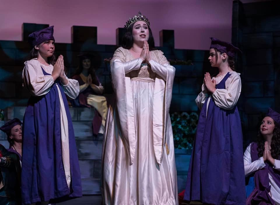 Erica Ferguson (Princess Ida) flanked by young neophytes Aliyah Fischer & Gabriella Jones in The Victorian Lyric Opera Company's production of 'Princess Ida.' Photo by Harvey Levine.