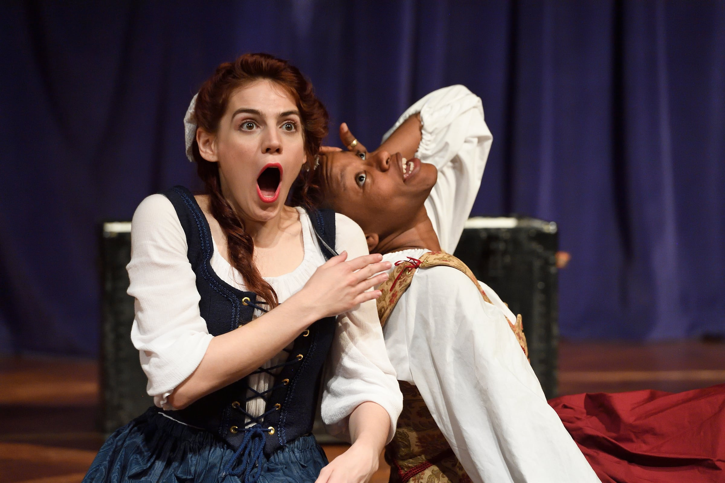 Emily Classen as Alice Ford with Bethany Mayo as Margaret Page in Baltimore Shakespeare Factory's production of 'The Merry Wives of Windsor.' Photo by Will Kirk.