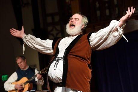 David Forrer as Sir John Falstaff in Baltimore Shakespeare Factory's production of 'The Merry Wives of Windsor.' Photo by Will Kirk.