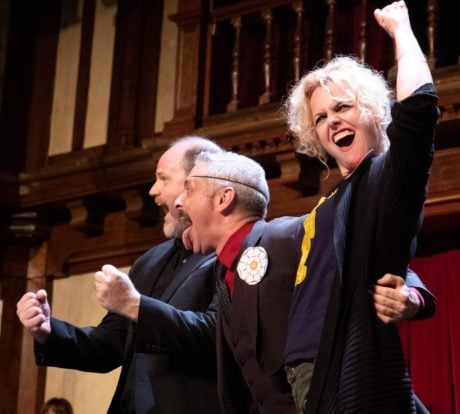 Todd Scofield, James Beaman, and Tonya Beckman in Taffety Punk's production of 'Bootleg Shakespeare: Richard III.' Photo by Glenn Ricci.