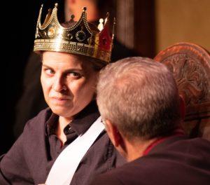 Kimberly Gilbert as Richard III in Taffety Punk's production of 'Bootleg Shakespeare: Richard III.' Photo by Glenn Ricci.