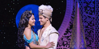 Kaenaonalani Kekoa as Jasmine and Clinton Greenspan as Aladdin in the North American tour of Disney's 'Aladdin,' now playing at The Kennedy Center. Photo by Deen van Meer.