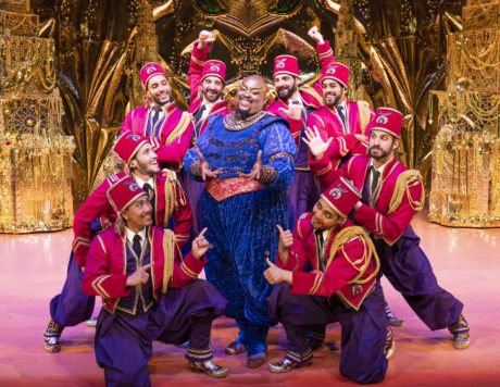 """Major Attaway as the Genie performs """"Friend Like Me"""" with the ensemble in the North American tour of Disney's 'Aladdin,' now playing at The Kennedy Center. Photo by Deen van Meer."""
